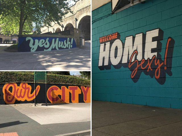 Adam Greasley's 'Yes Mush' mural outside Bradford Forster Square, Jameson Rogan's 'Our City' mural on Hamme Strasse and his 'Welcome Home Sexy' painting outside Bradford Interchange
