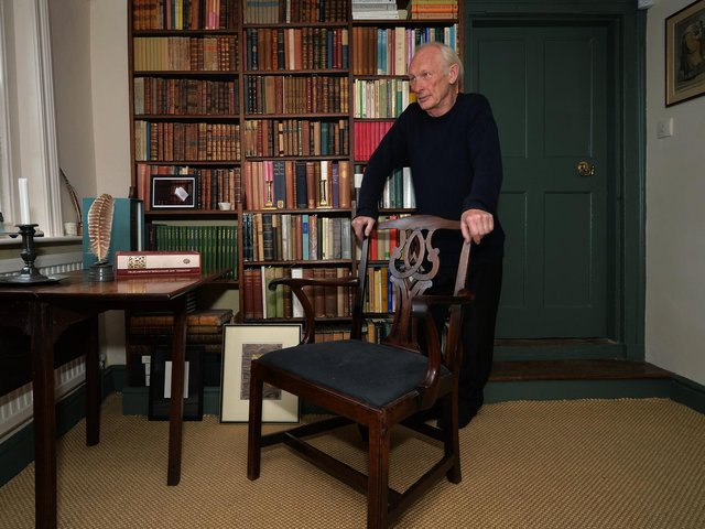 Curator Patrick Wildgust with the chair in the study at Shandy Hall. Picture by Jonathan Gawthorpe