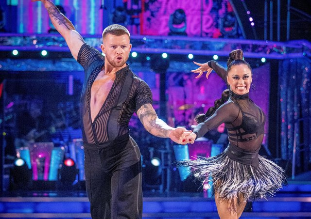 Adam Peaty and Katya Jones during the dress run for the first episode of Strictly Come Dancing 2021. Picture: Guy Levy/PA