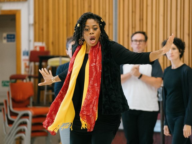 Chrystal E Williams as Carmen in rehearsals for the production which opens this weekend. (Tom Arber).