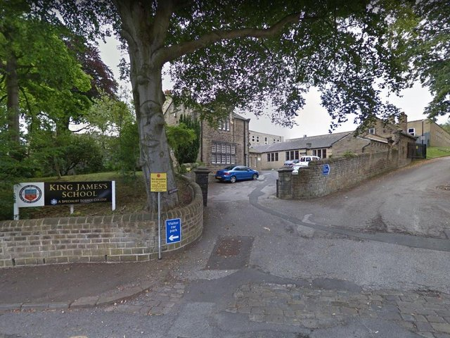 The blue plaque would have been put up at King James' School in Almondbury.