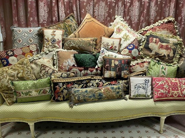 Antique cushions collected by David Hall