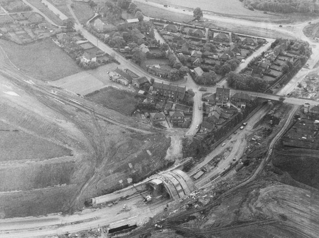 An aerial shot of construction work on the M62 near Elland in 1971. (Halifax Courier).