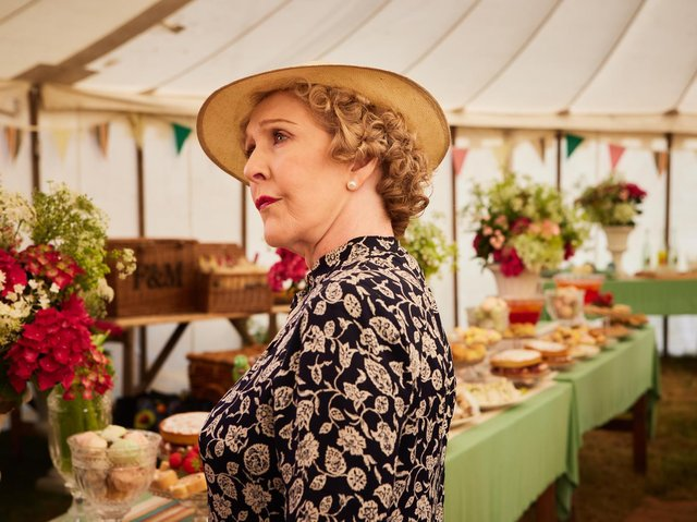 Mrs Pumphrey (Patricia Hodge) in the cricket marquee, filmed at Fountains Abbey Deer Park.