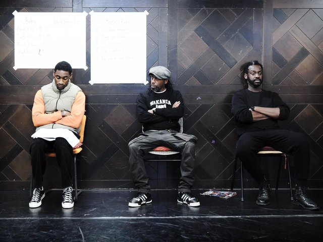 CJ Beckford, Tony Marshall and Sule Rimi in rehearsals for Jitney.  (Picture: Zoe Martin).