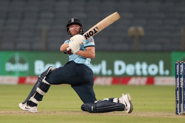 Jonny Bairstow, pictured, smashed 94 from 66 balls in the chase but England fell well short of India's Krunal Pandya-inspired 317-5. (Pic: Getty)