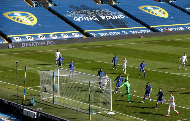 General view inside the stadium as Edouard Mendy of Chelsea makes a save during the Premier League match between Leeds United and Chelsea at Elland Road.