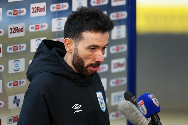 Carlos Corberan, manager of Huddersfield Town, is interviewed after the Sky Bet Championship match between Preston North End and Huddersfield Town at Deepdale on February 27, 2021.