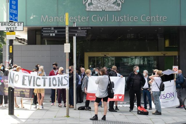 A protest against the planned reversal of the eviction ban, in August 2020, outside Manchester County Court (Photo: John B Hewitt/Shutterstock)