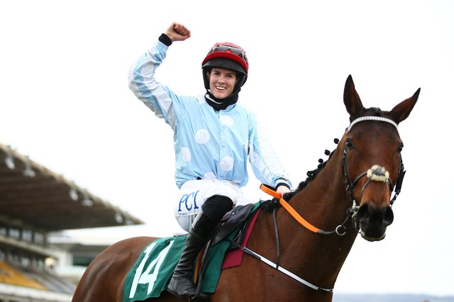Rachael Blackmore celebrates after riding Telmesomethinggirl to win the Parnell Properties Mares' Novices' Hurdle (Grade 2) during Day Three of the Cheltenham Festival 2021. (Pic: Getty Images)