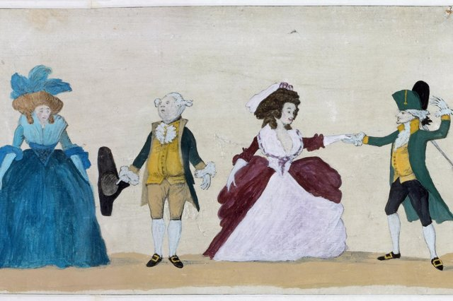 """A detail from """"A Long Minuet as Danced at Bath, 1787"""" by artist and caricaturist Henry William Bunbury (1750 – 1811)"""