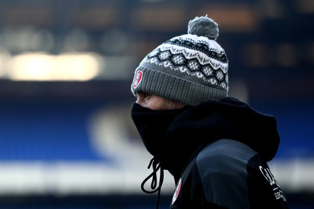 Rotherham United manager Paul Warne looks on during the FA Cup Third Round match between Everton and Rotherham United at Goodison Park on January 09, 2021 in Liverpool, England. The match will be played without fans, behind closed doors as a Covid-19 precaution.