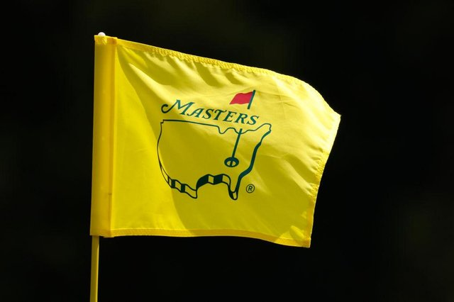 pin flag is displayed during a practice round prior to the Masters at Augusta National Golf Club on April 07, 2021 in Augusta, Georgia.