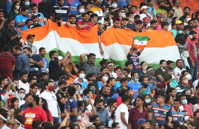 The first two T20 matches of the India vs England 2021 series were played in front of large crowds inside the Narendra Modi Stadium, in Ahmedabad, after a relaxation of Covid restrictions. (Pic: Getty)