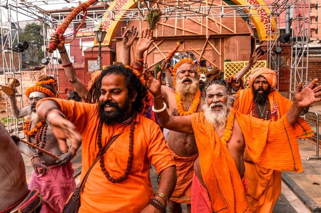 Hindu holy men take part in a religious procession ahead of Maha Shivaratri in Kathmandu in February 2020 (Photo: PRAKASH MATHEMA/AFP via Getty Images)