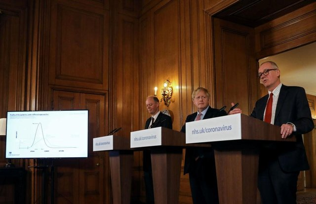 Prime Minister Boris Johnson, Chief Medical Officer for England, Chris Whitty and Government Chief Scientific Adviser, Sir Patrick Vallance detailed the government's next steps to tackle the covid-19 threat yesterday (Getty Images)