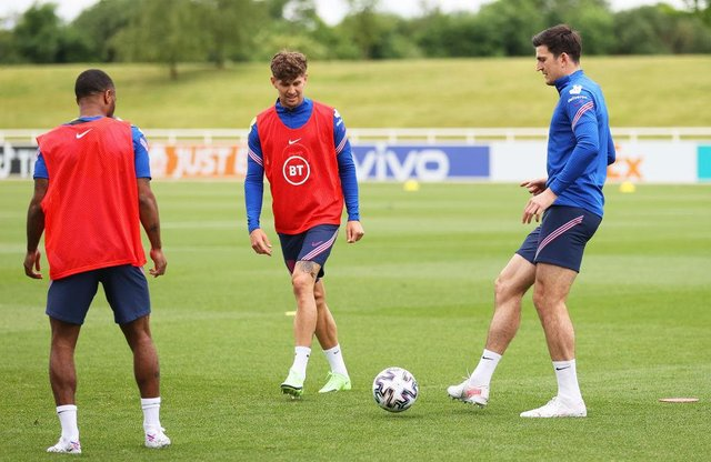 John Stones and Harry Maguire. (Photo by Catherine Ivill/Getty Images)