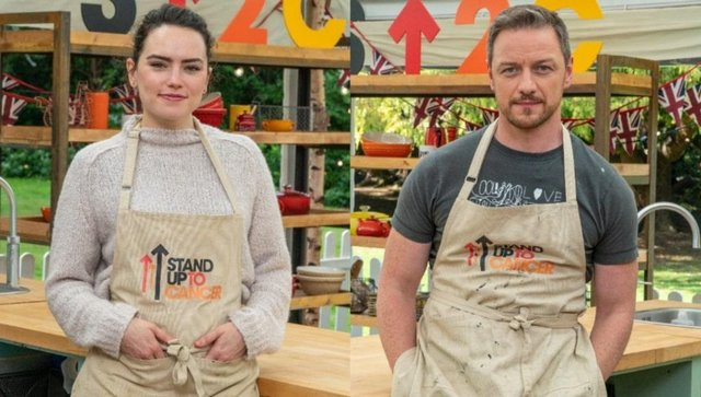 Daisy Ridley and James McAvoy are taking part in the Celebrity Bake Off (Channel 4)