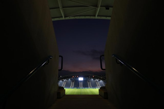 A general view inside the stadium prior to the FA Cup third round match between Huddersfield Town and Plymouth Argyle at John Smith's Stadium on January 9, 2021.