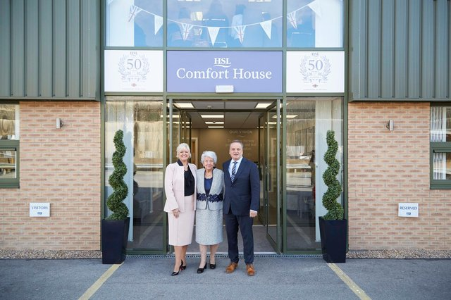 (From left) Debra Burrows (Director and business owner), Patricia Burrows (founder of HSL) and William Burrows (chairman and co-owner of HSL) in front of HSL headquarters in Batley